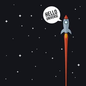 Space rocket in universe